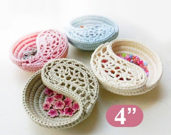 """Mother's day gift, crochet pattern 4"""" yin yang jewelry dish, ring dish. Crochet basket pattern. photo tutorial, Instant download."""