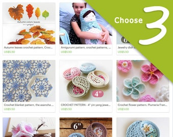 Crochet Pattern Discount Package, Mother's day gift. Choose any 3 Crochet Patterns. last minute gift for her, digital file gift.