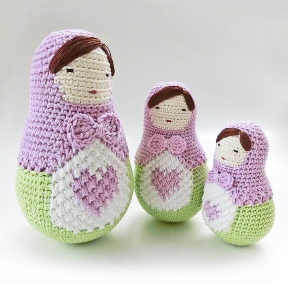 Matryoshka Amigurumi Pattern Crochet Doll Heart