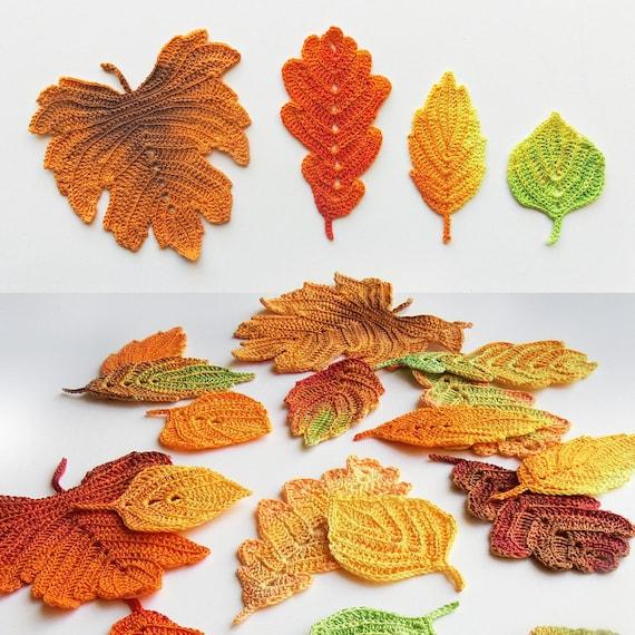 Crochet Pattern Autumn Leaves Crochet Leaf Pattern Fall Etsy