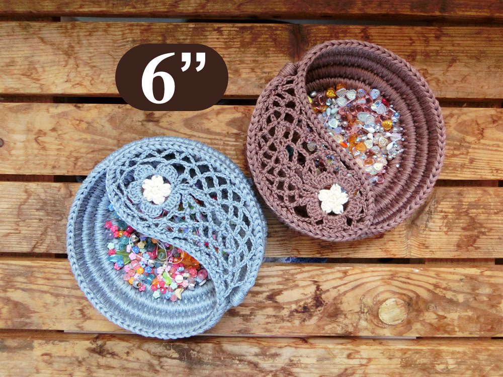 Yin Yang Jewelry Dish Crochet Pattern 6 Crochet Home Etsy