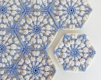 Crochet blanket pattern, the asanoha hexagon, crochet afghan patterns. granny square pattern. Crochet motif, crochet afghan block.