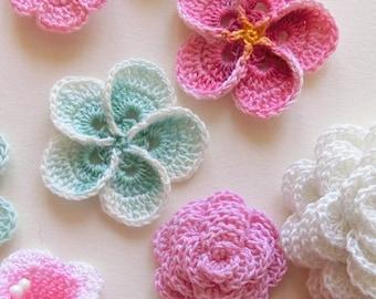 Crochet flower pattern, Crochet Plumeria Frangipani pattern, photo tutorial. Hawaiian flower applique, easy crochet pattern.