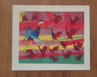 Red, Blue and White oil pastel birds, giclée print