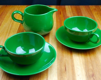 Homer Laughlin Rhythm Forest Green Tea Cups, Saucers and Creamer