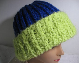 ee078047bdb Handmade Knit Winter hat Seahawks colors One size fits most. Acrylic yarn