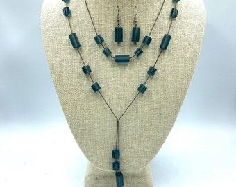 Women/'s Jewelry Gift Handmade Artisan Jewelry Light Blue Czech Glass Pearls with Rhinestone Rondels Necklace Set Czech Glass