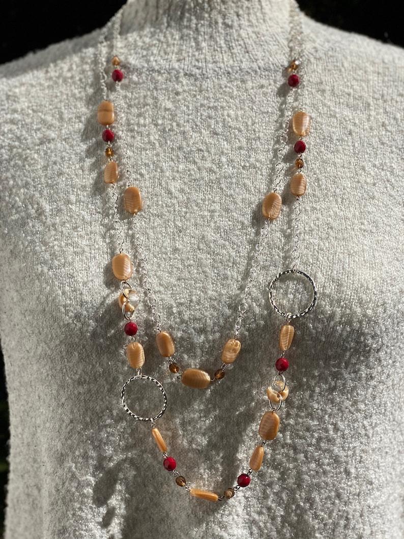 Handmade Jewelry Czech Glass Jewelry Red Long 2 Strands Necklace Beige Artisan Jewelry Beaded Jewelry Women/'s Jewelry Gift