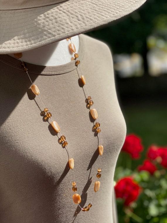 Women/'s Jewelry Gift Czech Glass Jewelry Handmade Jewelry Artisan Jewelry Beaded Jewelry Beige-Caramel 3 Strand Necklace Set