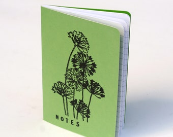 Flower Journal, Notes, lime green mini notebook, embossed journal, diary, fun gift ideas