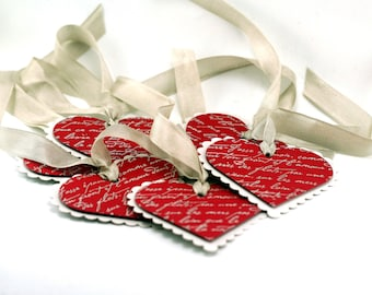 Red Heart tags, embossed french script, romantic scalloped hearts, gift tags, favor tags