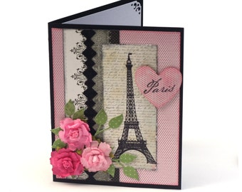 Pink Paris France shabby chic blank card, Eiffel tower, vintage inspired french theme note card