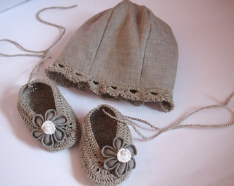 Baby Girl Linen Set, Linen Shoes and Hat, Baby Girl Gift, Made to order