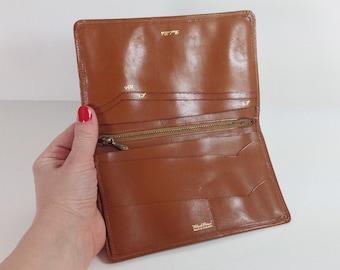 Vintage Mid Century Real Hide Caramel Leather Wallet Made in England / Black Prince Wallet Billfold / Genuine Leather