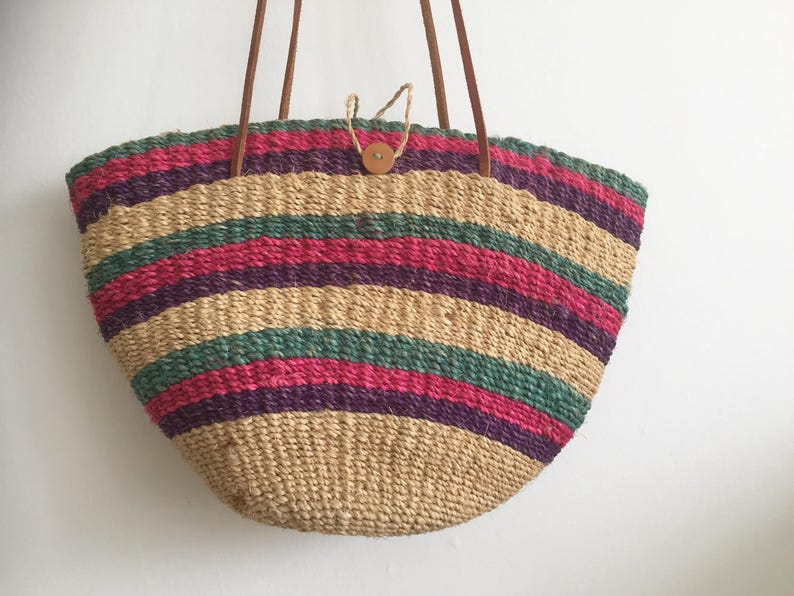 Vintage Woven Raffia Market Bag with Leather Strap Handles  Vintage Market Bag  Beach Bag  Vintage Grocery Bag Green Pink Purple