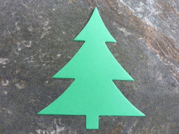 24 Die Cut Christmas Tree Craft Paper Evergreen Green Shape Etsy