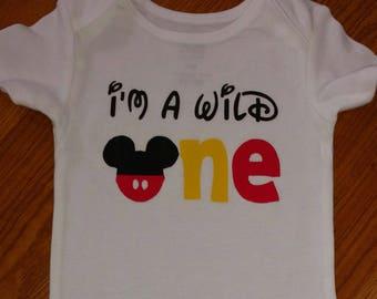 0bdab5def Mickey Mouse - I'm A Wild One - 1st Birthday Boy Bodysuit or T-Shirt