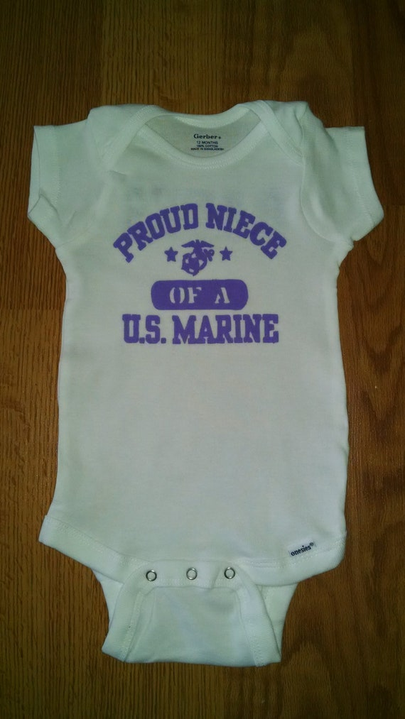 Proud Niece of a US Marine Hand Painted Bodysuit or T-Shirt  f25f44110cf