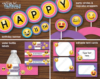 Girls Emoji Printable Birthday Party Bundle INSTANT DOWNLOAD Digital File