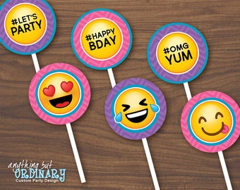 Printable Emoji Birthday Party Cupcake Toppers Girls Circles Emoticon Favor Tags INSTANT DOWNLOAD Digital File