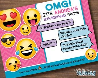 Printable Emoji Birthday Party Invite Girls Invitations Digital File