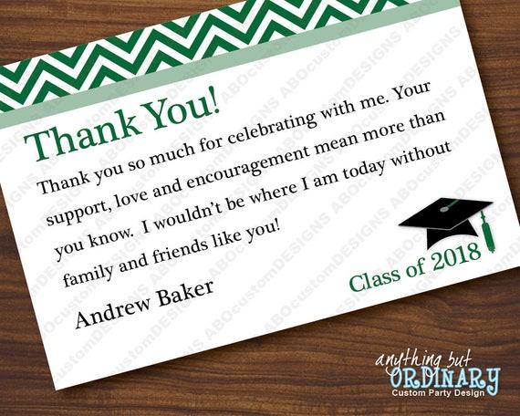 printable green chevron graduation thank you note editable