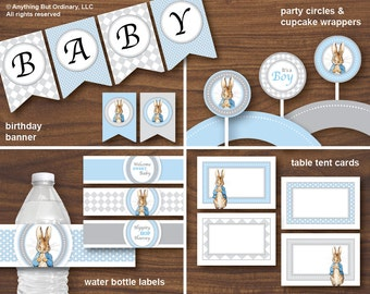 Peter Rabbit Party Pack, Baby Shower Printable Decorations in Blue and Gray, Printable Party Pack, INSTANT DOWNLOAD, printable digital file