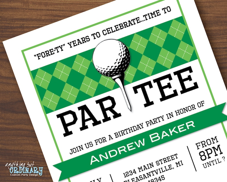 Golf Birthday Invitations Printable ParTEE