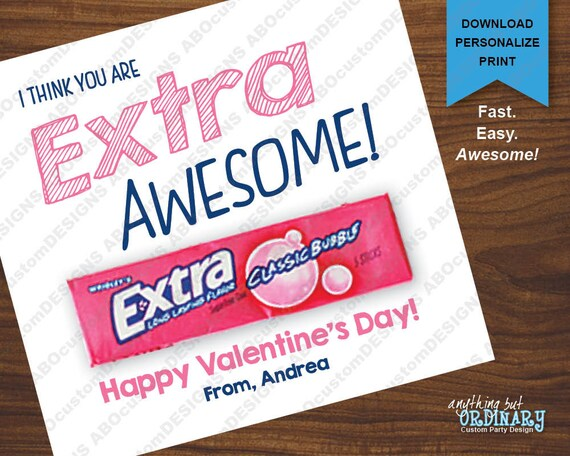 image relating to Extra Gum Valentine Printable named Much more Amazing Valentine Playing cards, Printable Gum Holder Valentines, Prompt Down load electronic document