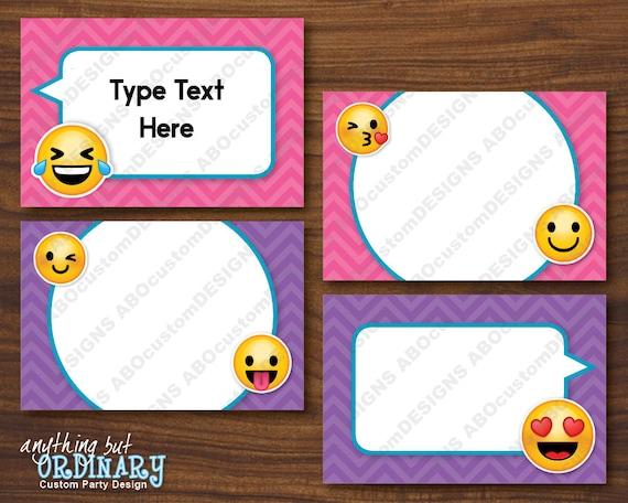 Editable Emoji Tent Cards Printable Girls Emoji Folded Etsy