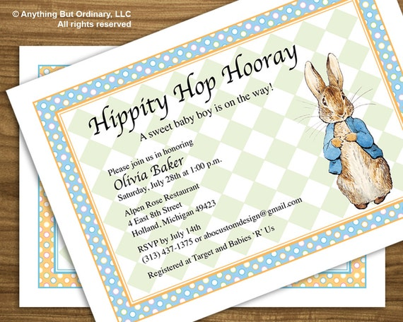 Peter Rabbit Baby Shower Invitation Vintage Peter Rabbit Etsy
