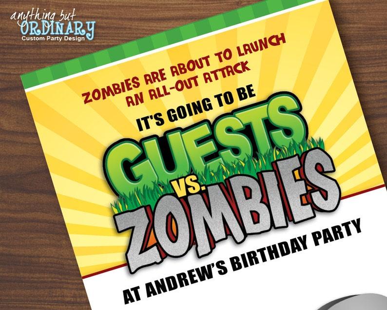 Guest Vs Zombies Birthday Invitations Printable Zombie Video Etsy