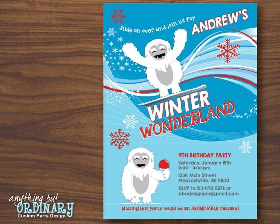 Abominable Snowman Birthday Invitation Winter Wonderland Etsy