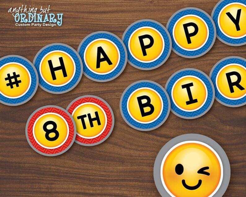 Boys Emoji Birthday Banner Printable DIY
