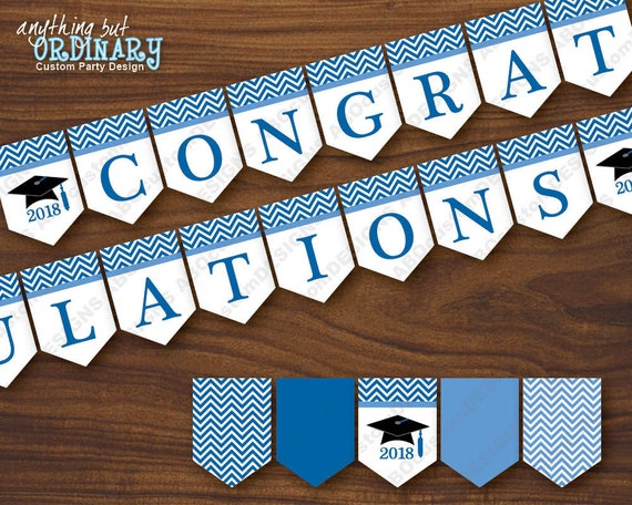 graphic relating to Chevron Printable Paper named Blue and White Congratulations Banner, Chevron Printable