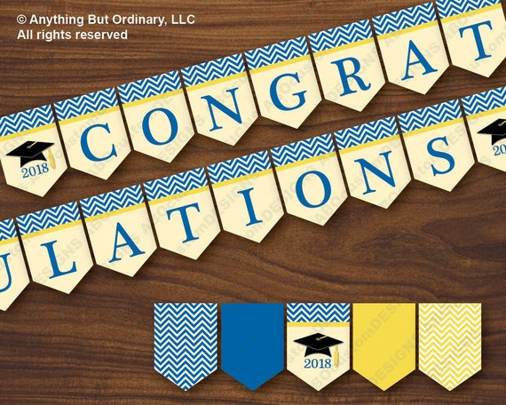photo about Printable Graduation Decorations titled Blue and Gold 2018 Commencement Decorations, Royal Blue and