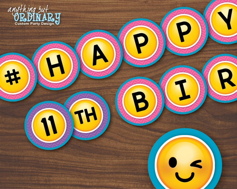 Emoji Banner Printable Girls Birthday DIY