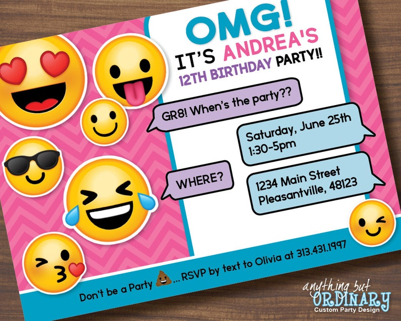 Printable Emoji Birthday Party Invite Girls