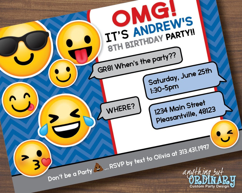 Boys Emoji Invitation Printable Birthday Party Invitations