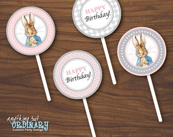 Peter Rabbit Birthday Cupcake Toppers in Pink and Gray, DIY Party Circles, Favor Labels, INSTANT DOWNLOAD, digital printable file