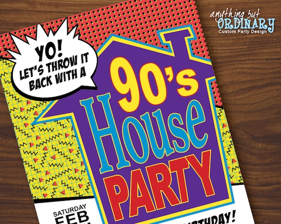 90s House Party Birthday Invites Printable House Party Etsy