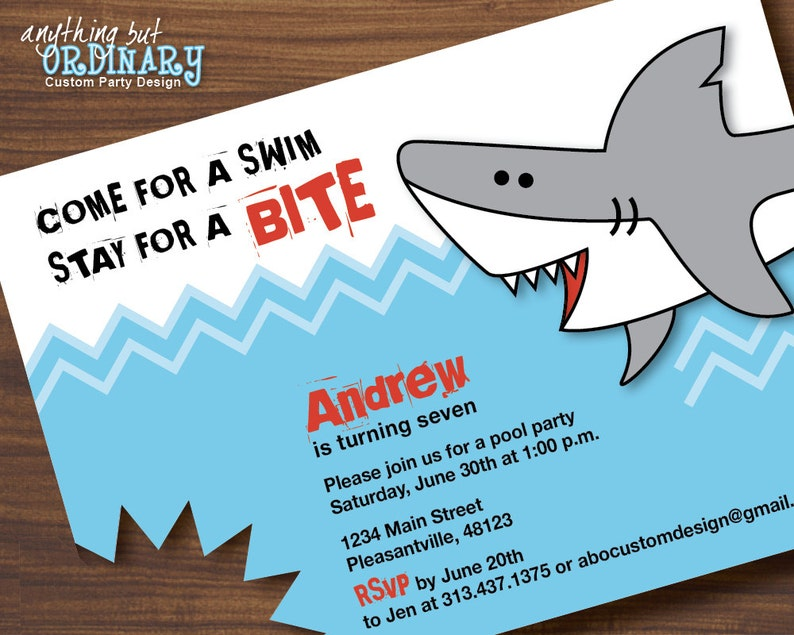 Shark Birthday Invitations Printable Invites