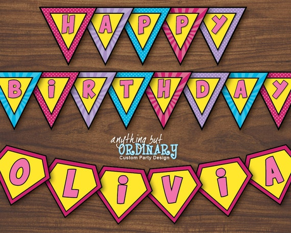 PERSONALIZED Girls Superhero Birthday Banner DIY Supergirl