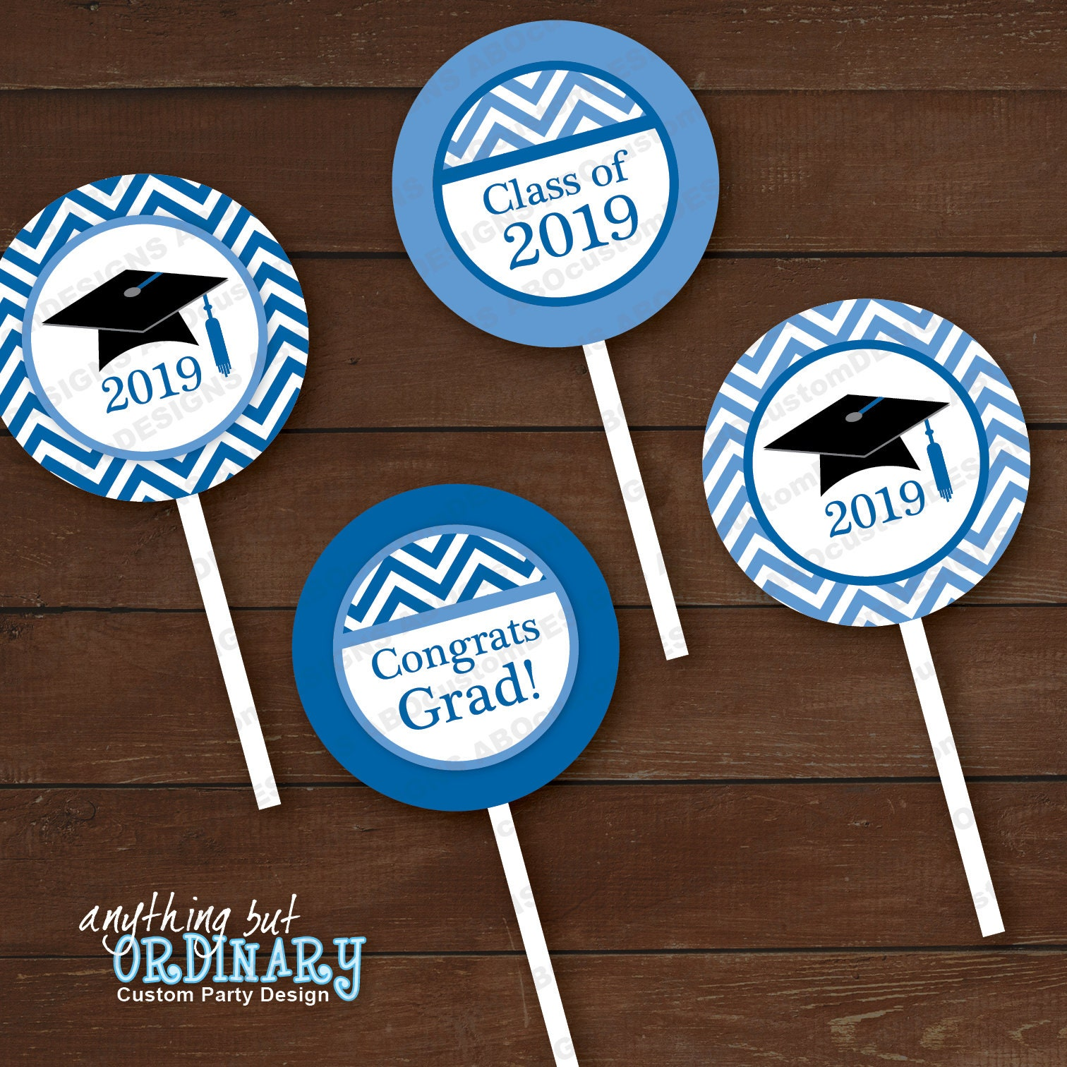 Printable Graduation Cupcake Toppers 2019 Blue and White ...