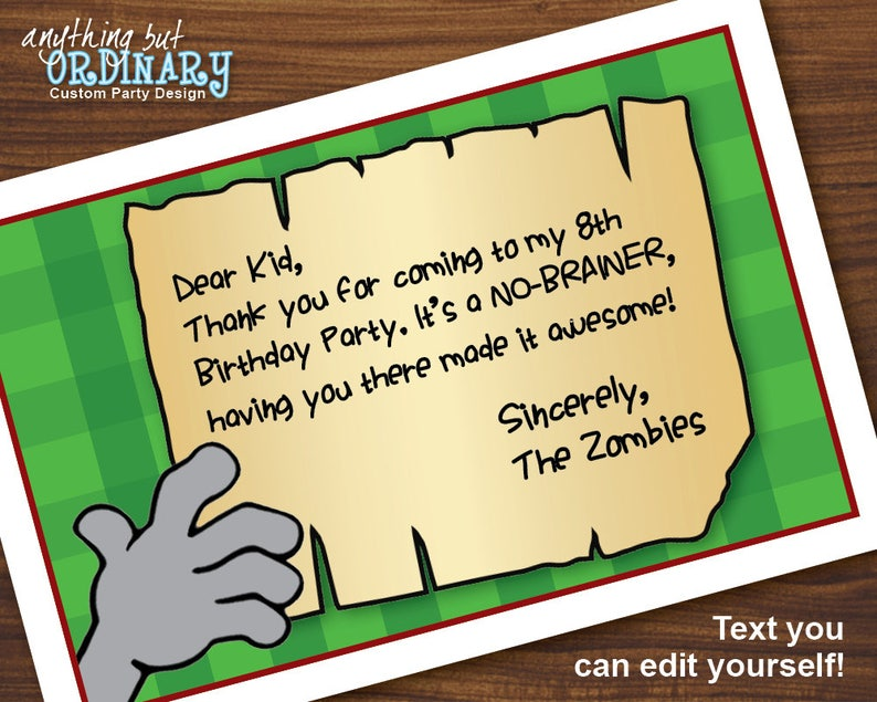 Zombie Birthday Thank You Card Printable Note