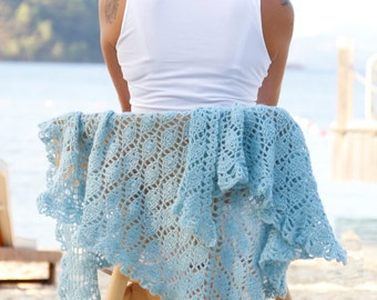 Soft blue crochet triangle shawl