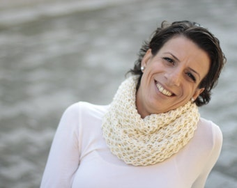 Ivory Cowl , Neckwarmer with sequins