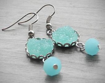 FREE SHIPPING Aqua Blue Earrings Faux Druzy Earrings Frosted Glass Pastel Blue Drop Earrings Geode Earrings