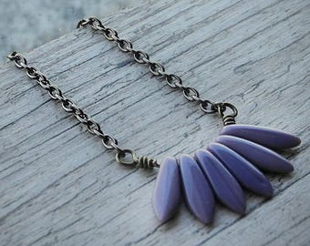 Gift For Her Rustic Purple Necklace Grey Lilac Fan Pendant Shabby Chic Pointy Necklace Czech Glass Jewelry
