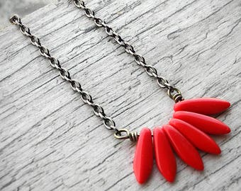 Gift For Her Scarlet Red Necklace Fan Pendant Spike Necklace Red and Black Czech Glass Jewelry